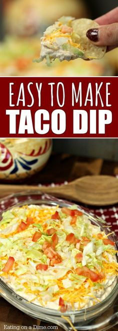 Best Taco dip Recipe - Easy Taco dip recipe - Simple Taco dip recipe - - This is the best taco dip recipe. With a few ingredients you can throw together this easy taco dip recipe in minutes. Try this simple taco dip recipe today! Nacho Dip, Best Taco Dip Recipe, Simple Taco Dip Recipe, Easy Dip Recipes, Queso Recipe, Recipe Recipe, Sauces, Snacks Sains, Snacks Für Party