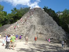 Climb to the top of Coba pyramid. One of the few that is still open for climbing.