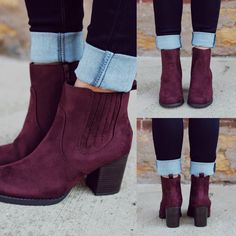 maroon ankle boots- How to wear ankle booties… Sock Shoes, Cute Shoes, Me Too Shoes, Ankle Booties, Bootie Boots, Shoe Boots, Pumps, Heels, Boots Talon