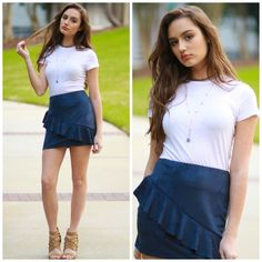 Spring Forward Suede Ruffle Navy Skirt from Cousin Couture.