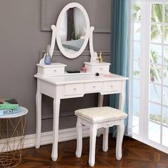Rosdorf Park Edie Solid Wood Vanity Set with Stool and Mirror Colour: White Dressing Table Top Mirror, 5 Drawer Dressing Table, Dressing Table With Chair, Dressing Stool, Vanity Set With Mirror, Wood Vanity, Oval Mirror, Modern Vanity Table, Bedroom Vanity Set