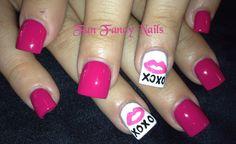 #Handpainted #love #pink #Nail art