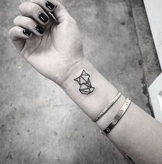 Little Cute Geometric Fox Tattoo On Wrist... - Tattoo Designs