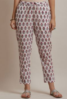 Block-printed with a small buti pattern in romantic tones, the Guldasta Zoya Narrow Pants are styled in a slender silhouette. Wear them w Salwar Designs, Kurta Designs Women, Kurti Designs Party Wear, Blouse Designs, Stylish Dresses For Girls, Stylish Dress Designs, Simple Kurta Designs, Sleeves Designs For Dresses, Lounge