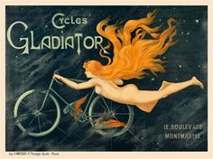 Cycles Gladiator bicycles horizontal French poster features a nude woman with long red hair riding a bicycle but appears to be flying. The beautiful Vintage Poster Reproduction is perfect for an office or living room. Posters Vintage, Art Vintage, Retro Poster, Vintage Prints, Modern Posters, French Posters, Vintage Wine, Vintage Labels, Retro Art