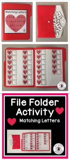 File Folder Activities, File Folder Games, File Folders, Preschool Projects, Preschool Math, Kindergarten, Autism Activities, Alphabet Activities, Valentines