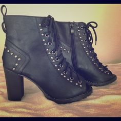 New Laceup booties Studded Laceup booties. Never worn Forever  Shoes Ankle Boots & Booties