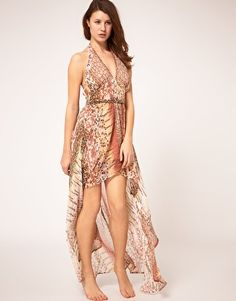 Fun print in muted tones, with an elegant high-low hemline