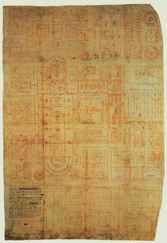"Saint Gall Plan (Original). Red ink on parchment. 28 x 44-1/8"". Stiftsbibliothek, Saint Gall, Switzerland."