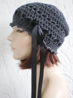 44ec601cbbfb9 hand crochet Cloche Tam Beanie Hat ~ chic slouch ~ grey - made to order