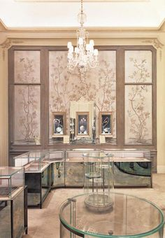 Designate A Dressing Room. de Gournay chinoiserie wallpaper in Earlham design. Radiant Orchid. The Bergdorf Goodman jewelry department.