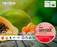 Fight #blackheads and Impurities,  Get clear and Brightening #skin Product name #Herbline Glow scrub (Apricot & Papaya)  Recommended for #skin Brigtening & Lifting. #Chooseorganic