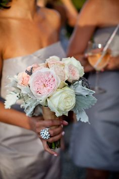 simple bridesmaid bouquet with peonies, roses and lamb's tail (?)