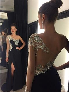 Unique design one sleeved rhinestones   black chiffon prom dress with slit, long ball gown for 2016 #coniefox