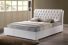 Bianca White Modern Bed with Tufted Headboard (King Size) - contemporary - headboards - by ZFurniture