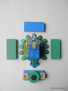 Robot Ornament  Peacock Bot  P Bot  Upcycled by redhardwick