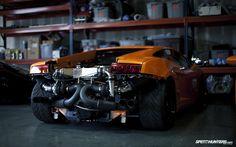 cars engines Lamborghini Lamborghini Gallardo garages twin turbo orange cars italian cars