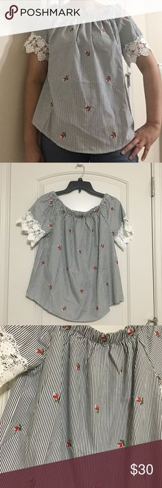 Trendy top Brand new with tags. Super cute embroidery flowers on trend! Tops Blouses