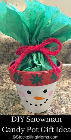DIY Snowman Candy Pot Gift Idea