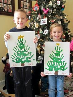 Christmas trees made of handprints