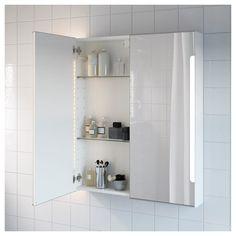 "STORJORM Mirror cabinet doors & light - 31 "" - IKEA Perfect for use in bedroom vanity area Bathroom Mirror Cabinet, Mirror Cabinets, Ikea Toilet, Tempered Glass Shelves, Diffused Light, Mirror With Lights, Bathroom Furniture, Adjustable Shelving"