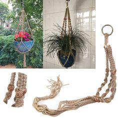Jute Hanger Rope for Heavy Plant Pots, ensure that a proper hanging hook is used to support the weight required. High and low ceiling and fits round & square pots. 1 x macrame plant hanger (Not include Pot and plant).   eBay!