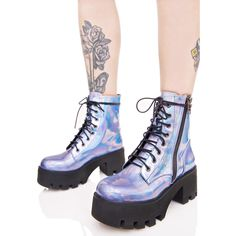 Current Mood Opalescent Odyssey Boots ($85) ❤ liked on Polyvore featuring shoes, boots, laced shoes, lace front boots, current mood, holographic boots and front lace up boots