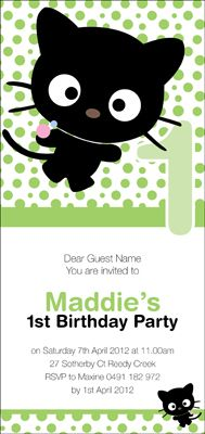 Kids Birthday Invitations - Little Cat