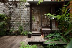 Timber decking/stone wall