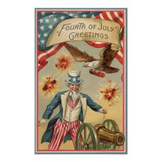 Vintage 4th of July Fireworks with Uncle Sam Poster | Zazzle.com