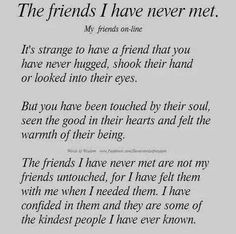 """For all the special people I have """"met"""" thankyou for your friendship xx"""