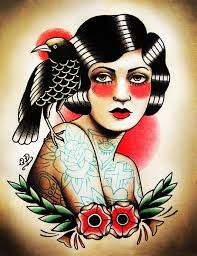 traditional woman portrait tattoo - Google Search