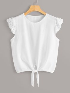 To find out about the Contrast Eyelet Embroidery Cuff Knot Hem Tee at SHEIN, part of our latest T-Shirts ready to shop online today! Fashion News, Girl Fashion, Fashion Dresses, Girl Outfits, Casual Outfits, Cute Outfits, Blouse Styles, Blouse Designs, Kids Dress Wear