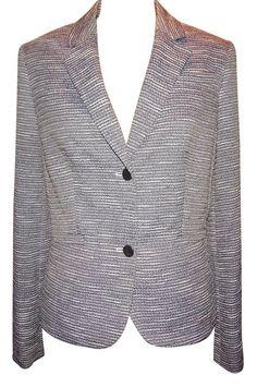 Calvin Klein Casual Blazer Jacket Slub Tweed White and Navy 14  #CalvinKlein #Blazer