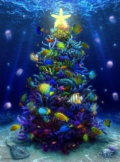 A Christmas Coral by priteeboy on deviantART ~ under water tropical Christmas tree Tropical Christmas, Beach Christmas, Coastal Christmas, Noel Christmas, All Things Christmas, Christmas Lights, Vintage Christmas, Christmas Decorations, Tree Decorations
