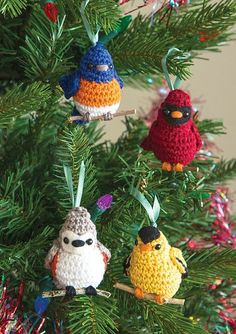 Ravelry: Four Calling Birds Ornaments pattern by Megan Kreiner