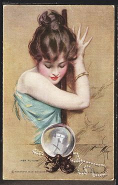 """Signed Harrison Fisher Dated 1919 """"Her Future"""" R&N No. 847 Girl & Crystal Ball"""