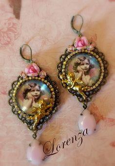 """Boucles romantiques fleurs rose pastel """"Les chérubins """" : Boucles d'oreille par lorenza"""