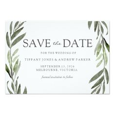 Modern Leaf Wreath Save The Date Invite - wedding invitations cards custom invitation card design marriage party