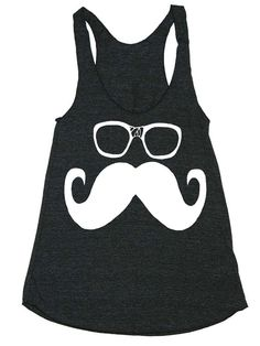 Womens Mustache and Glasses Tri-Blend Racerback Tank Top