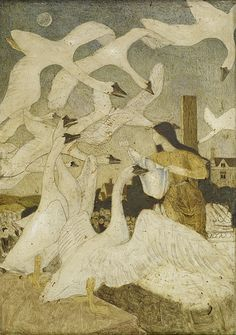 Arthur Joseph Gaskin (English, 1862-1928). The Wild Swans, 1928. The picture depicts the scene in the Grimm's fairytale of 'The Twelve Brothers Turned into Swans' where their sister is rescued and distributes the shirts that will turn them back into men.