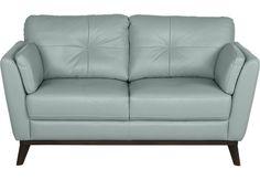 Sofia Vergara Gabriele Spa Blue Leather Loveseat from  Furniture