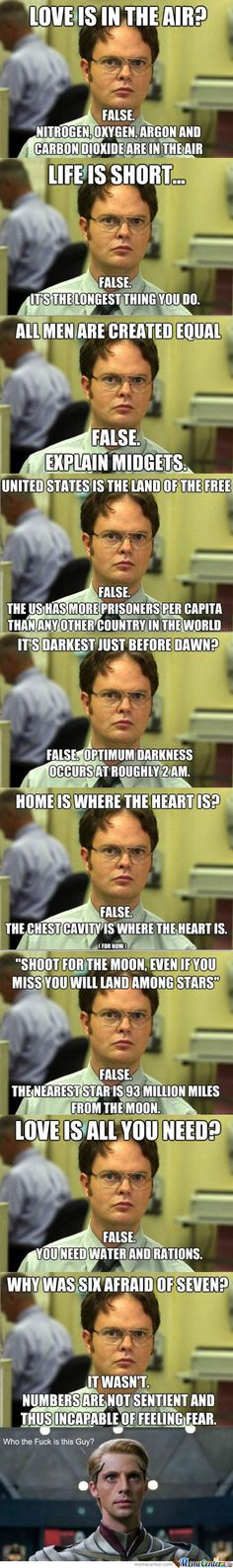 Best of nerd corrections (aka Dwight Schrute) (i don't even watch the Office, but these are funny) Stupid Funny, The Funny, Funny Jokes, Hilarious, Funny Stuff, Funny Hacks, Funny Troll, Funniest Memes, Funny Things