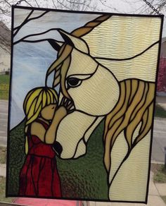 Stained Glass Girl and Horse for Window | eBay