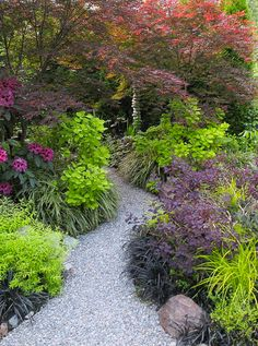 Garten flower garden design path ideas curved gravel path lush plants Types of Staple-Up Radiant Hea Path Design, Landscape Design, Design Ideas, Flower Garden Design, Flowers Garden, Woodland Garden, Traditional Landscape, Contemporary Landscape, Shade Garden