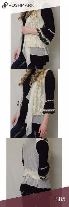 Costa Blanca Crochet Natural Vest Cream Sweater Costa Blanca | Crochet Natural Vest  100% Polyester  Hand wash in cold water For a great outfit, pair this vest with ADO's Now N Forever Top in either brown or black! (See link below) https://www.alldecdoutboutique.com/search?type=product&q=Now+N+Forever+Bell+Sleeve+%26+Crochet+Trimming  For FREE USA SHIPPING and/or DISCOUNTS, buy from my website! https://www.alldecdoutboutique.com/products/costa-blanca-crochet-natural-vest Costa Blanca Jackets…