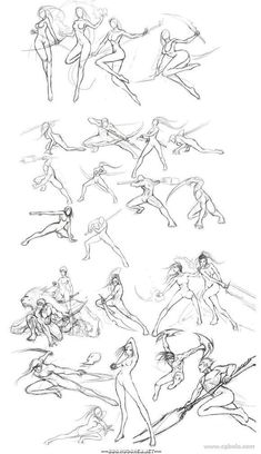 Anime/ manga girl with sword, spear, bow Fighting poses & references Gesture Drawing, Anatomy Drawing, Body Drawing, Drawing Base, Action Pose Reference, Action Poses, Drawing Reference, Drawing Tips, Human Figure Drawing