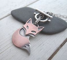 Rustic Fox Toggle Necklace // handmade mixed metal pendant on sterling silver necklace // artisan metal smith jewelry (3622)