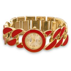 Gold Tone Curb Link Fashion Watch with Red Epoxy