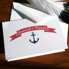 Nautical Wedding Stationery Thank You Note with Anchor and Banner 100% Cotton #SavoyPaper - Set of 12 Make your own: http://www.reichpaper.com/wedding-papers.html